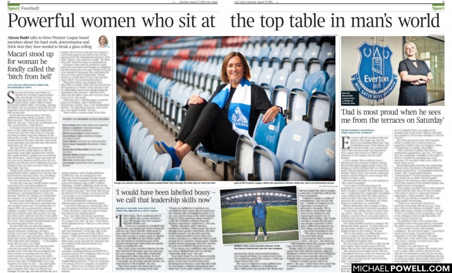 The Times cutting showing Ann Hough, Operations Director at Huddersfield Town FC in the club
