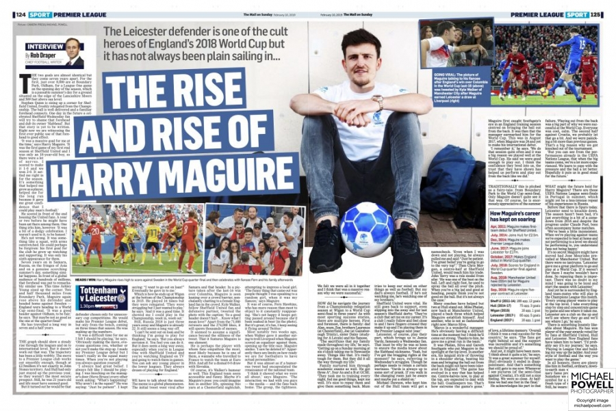 Portrait of England player Harry Maguire sitting with football in casual clothes looking to camera.