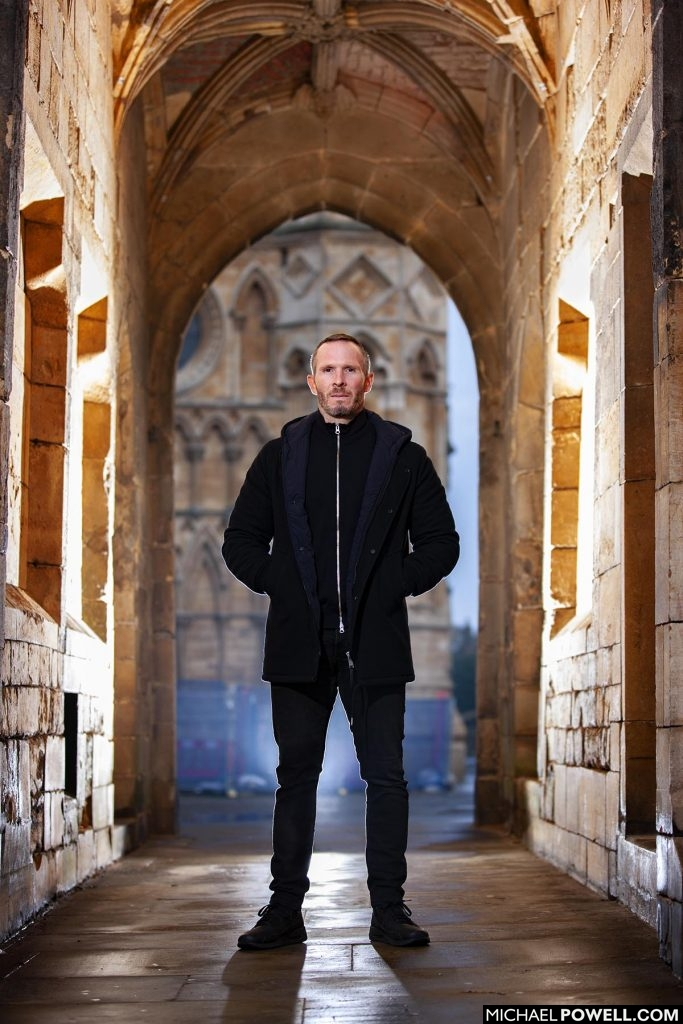 Michael Appleton, Manager of Lincoln City F.C. photographed by the city's cathedral.