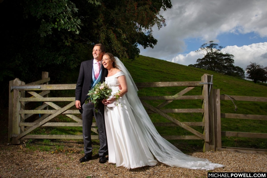 Newly married couple in a rural setting